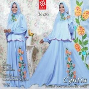 Baju Muslim Wanita Cyntia Syar'i warna Biru Bahan Woolpeach