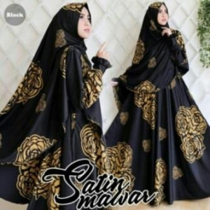 Baju Pesta Muslim Mawar Warna Black Bahan Satin