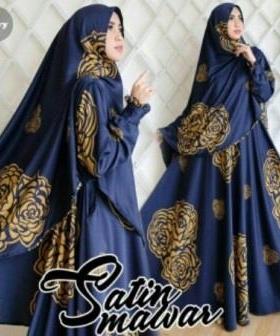 Baju Pesta Muslim Mawar Warna Navy Bahan Satin