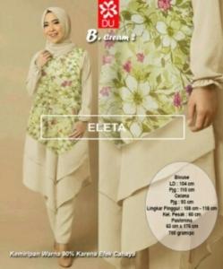 Busana Muslim Modern Eleta Set Warna Cream-2 Bahan Spandex Jersey