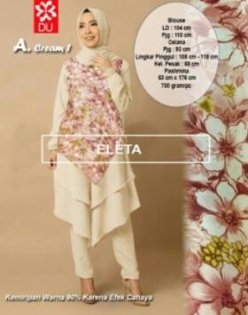 Busana Muslim Modern Eleta Set Warna Cream Bahan Spandex Jersey