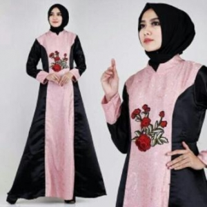 Busana Muslim Modern Keisha Dusty Warna Pink Dengan Bahan Jacquard