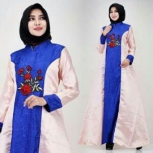 Busana Muslim Modern Keisha warna Elblue Dengan Bahan Jacquard