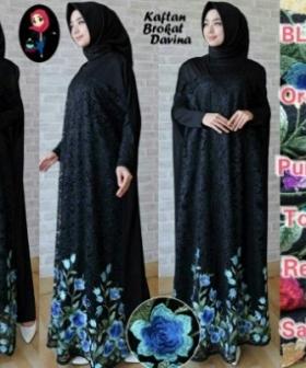 Busana Muslim Modern Mewah Davina Bahan Brukat