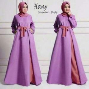 Busana Muslim Modern Online Hany Syar'i Warna Lavender Dusty Bahan Waffle