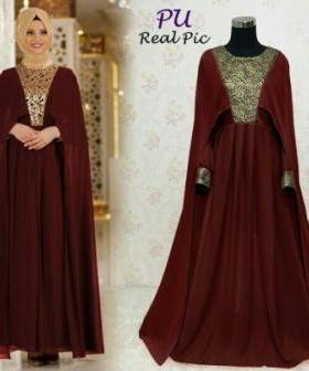 Busana Muslim Modern Online Renata warna Maron Bahan Ceruty