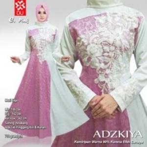 Busana Muslim Pesta Adzkya warna Pink Bahan Jacquard