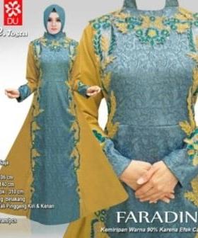 Busana Muslim Pesta CAntik Faradina warna Tosca Bahan Jacquard