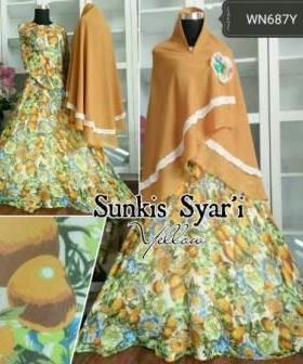 Busana Muslim Pesta Sunkis Syar'i warna Coklat Bahan Ceruty