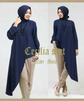 Busana Muslim Trendy Masa Kini Cecilia Set Warna Navy Mocca Bahan Spandex Korea