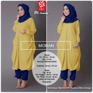 Busana Muslim Trendy Murah Moran Set Warna Kuning Bahan Spandex Korea