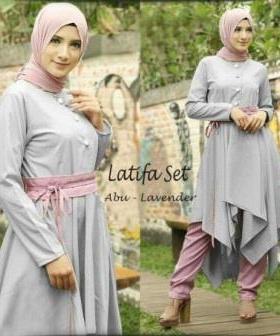 Busana Muslim Trendy Terbaru Latifa Set Warna Lavender Bahan Waffle