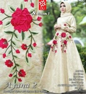 Busana Muslim Wanita Ayana 2 Cream Bahan Jacquard