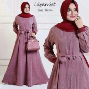 Busana Muslim Wanita Lilyan Syar'i Warna Dusty Maroon Bahan Wafle