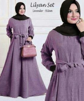 Busana Muslim Wanita Lilyan Syar'i Warna Lavender Hitam Bahan Wafle