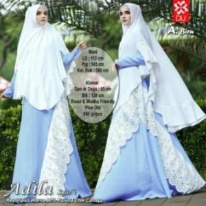 Gamis Adila Syar'i CAntik Model Baru Warna Biru Bahan Woolpeach