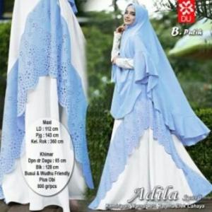 Gamis Adila Syar'i Cantik Model Baru Warna putihBahan Woolpeach