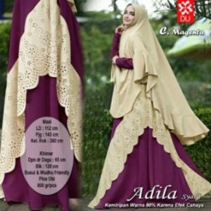 Gamis Adila Syar'i Cantik Model Baru warna Magenta Bahan Woolpeach