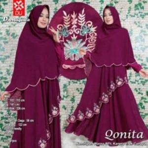Gamis Muslimah Qonita Syar'i Warna Magenta Bahan Spandex Princess