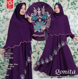 Gamis Muslimah Qonita Syar'i Warna Ungu Bahan Spandex Princess
