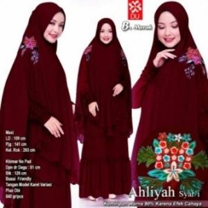 Gamis Muslimah Terbaru Anggun Ahliyah Syar'i Warna Merah Bahan Woolpeach