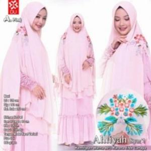 Gamis Muslimah Terbaru Anggun Ahliyah Syar'i Warna Pink Bahan Woolpeach