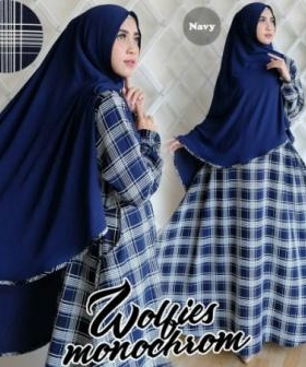 Gamis Muslimah Terbaru Cantik Monochrome Syar'i warna blue bahan woolpeach