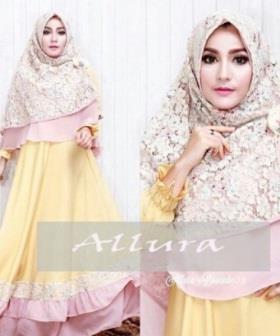 Gamis Pesta Allura Syar'i Warna Soft Yellow Bahan Velvet