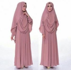 Gamis Syar'i Terbaru Humaira Warna Dusty Pink Bahan Wolly Crepe
