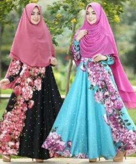 Gamis Untuk Lebaran Farzana Syar'i warna Hitam Biru Bahan Maxmara