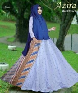Baju Gamis Azira Biru Bahan Katun Terbaru Mewah