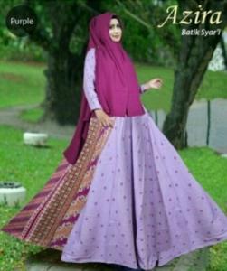 Baju Gamis Azira Ungu Bahan Katun Terbaru Mewah