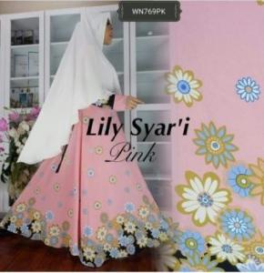 Baju Gamis CAntik Dan Anggun Lily syar'i Pink Bahan Bubblepop