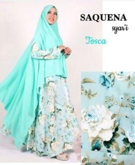 Baju Gamis Cantik Dan Anggun Saquena Syar'i Warna Tosca Bahan Baloteli
