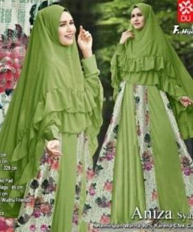 Baju Gamis Pesta Aniza Syar'i Busui warna Hijau Bahan woolpeach Kombi Brukat