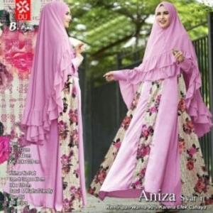 Baju Gamis Pesta Aniza Syar'i Busui warna Pink Bahan woolpeach Kombi Brukat