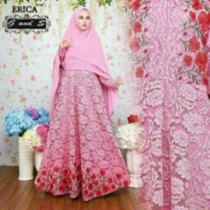 Baju Gamis Pesta Cantik Dan Anggun Erica Syar'i Brukat Pink