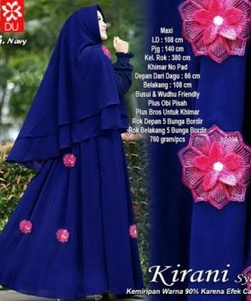 Baju Gamis Pesta Kirani Syar'i warna Navy Bahan Baloteli