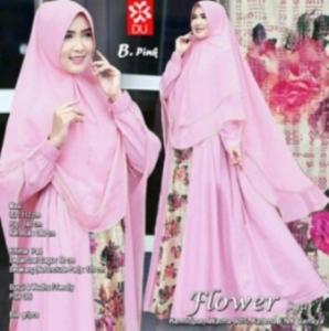Baju Gamis Pesta Terbaru Flower Syar'i Warna Pink Bahan Baloteli