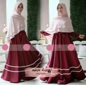 Baju Gamis Terbaru Dan Mewah Nira Syar'i Warna Maroon bahan Wollycrepe