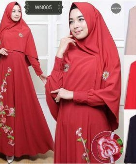 Baju Gamis Terbaru Dan Modis Aura Syar'i Merah