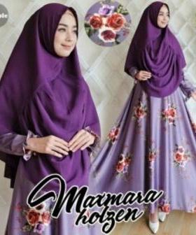 Baju Muslim Wanita Cantik Holgen Syar'i Warna Purple Bahan maxmara