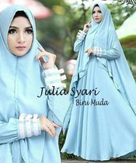 Baju Muslim Wanita Cantik Julia Syar'i warna Biru Muda Bahan Waffle