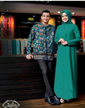 Baju Muslim Wanita Sasmira Couple warna green Terbru Bahan Woolpeach