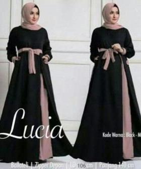 Baju Muslim Wanita Terbaru Lucia warna Black Bahan Baloteli