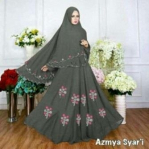 Baju Muslim Wanita Ukuran Kecil Azmya Syar'i Warna Abu Bahan Diamond Crepe