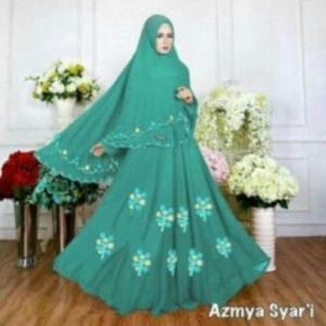 Baju Muslim Wanita Ukuran Kecil Azmya Syar'i Warna Tosca Bahan Diamond Crepe