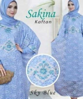Baju Pesta Muslim Kaftan Sakina warna Sky Blue Bahan Brukat