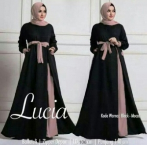 Busana Muslim Modern Terbaru Lucia Bahan Baloteli Warna Black