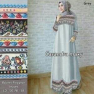 Busana Muslim Modern Ukuran Keicil Casandra Warna Grey Bahan Baloteli